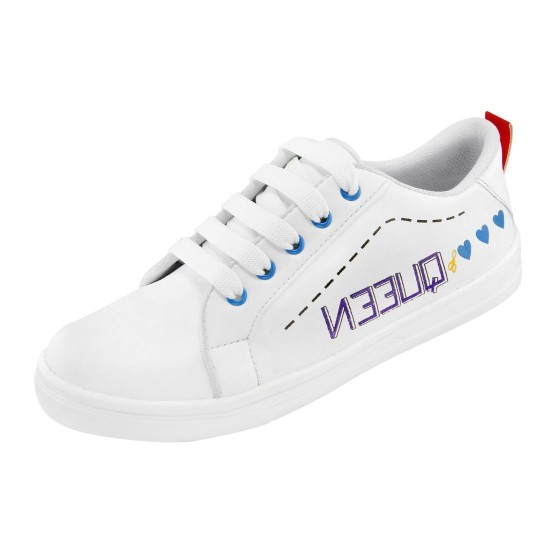 Generic-Women-White-Blue-Color-Leatherette-Material-Casual-Sneakers-25551