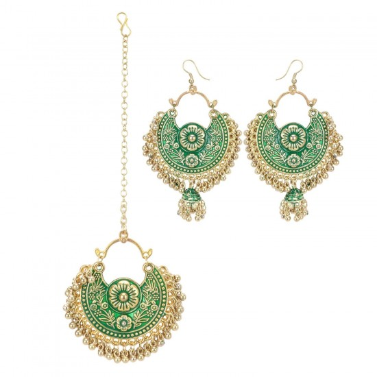 Generic-Women's-Gold-Oxidized-Earrings-and-Maang-Tikka-Green-PID27136