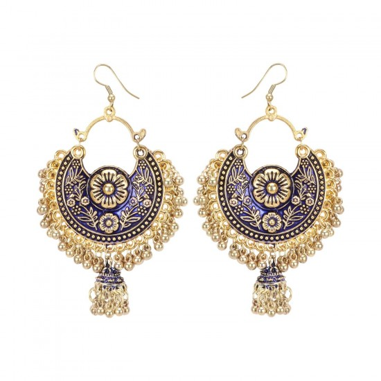 Generic-Women's-Gold-Oxidized-Earrings-and-Maang-Tikka-Blue-PID27135
