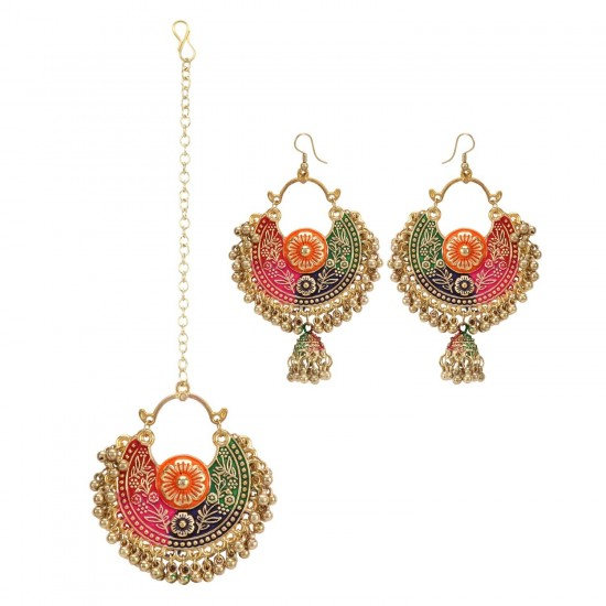 Generic-Women's-Gold-Oxidized-Earrings-and-Maang-Tikka-Multi-PID27133
