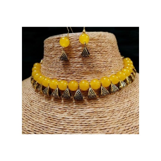 Generic Pearl, Yellow Color Jewellery set for Women-29684