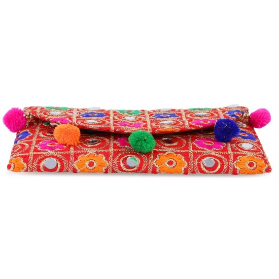Generic Women's Traditional and Ethnic Handmade Cotton Clutch Bag (Red)