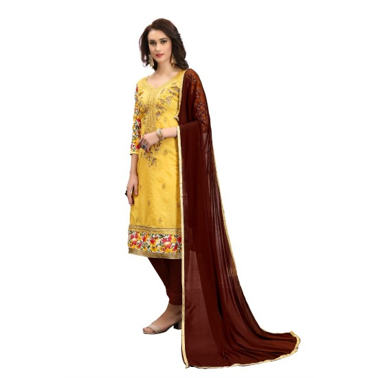 Chanderi-Cotton-Fabric-Yellow-Color-Dress-Material-16336