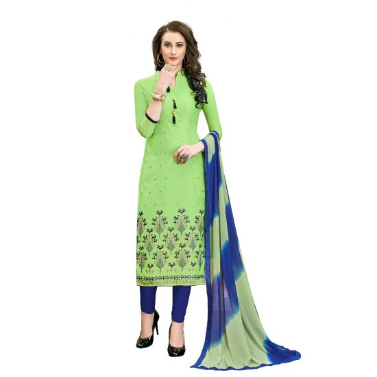 Chanderi-Cotton-Fabric-Green-Color-Dress-Material-16338