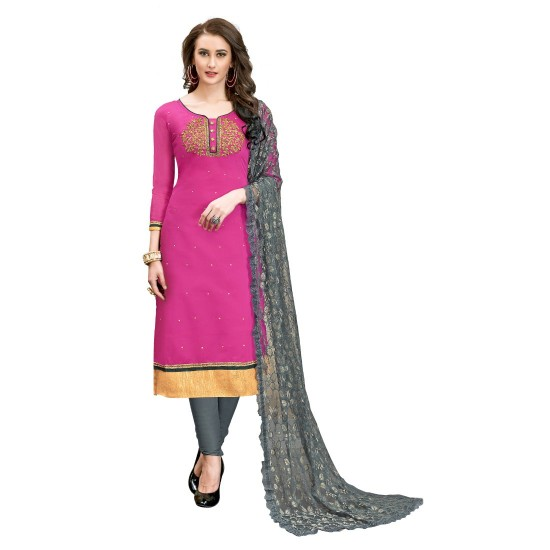 Chanderi-Cotton-Fabric-Pink-Color-Dress-Material-16328