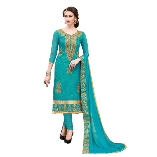 Chanderi-Cotton-Fabric-Turquoise-Color-Dress-Material-16330