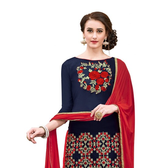 Chanderi-Cotton-Fabric-Navy-Blue-Color-Dress-Material-16332